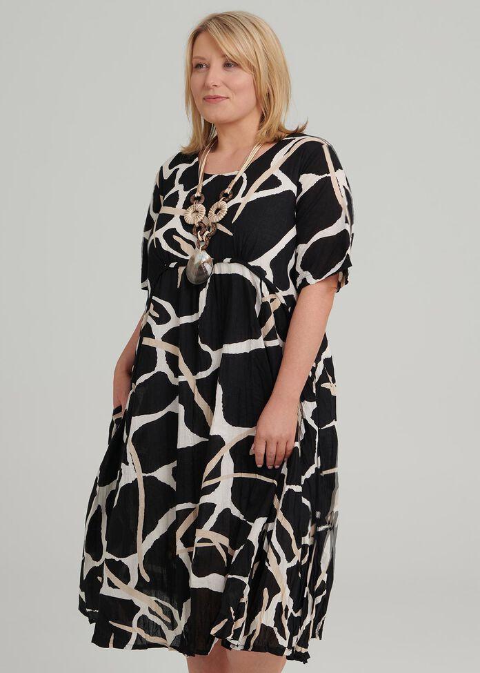 Abstract Print Dress, , hi-res