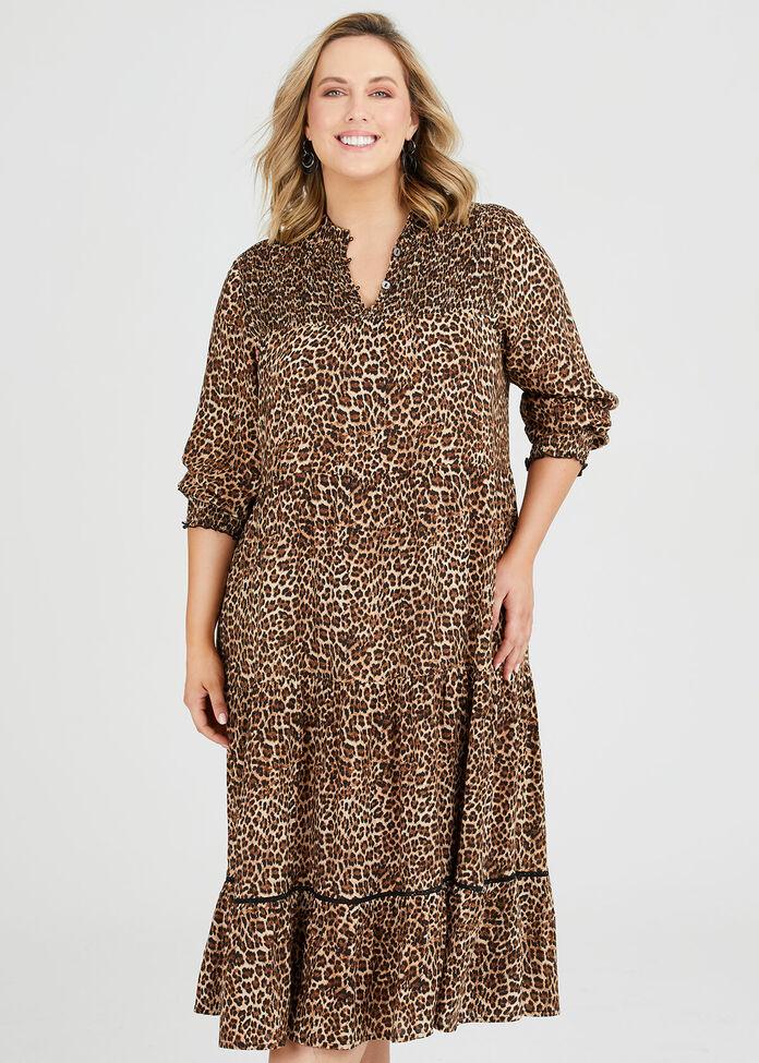 Natural Leo Shirred Dress, , hi-res
