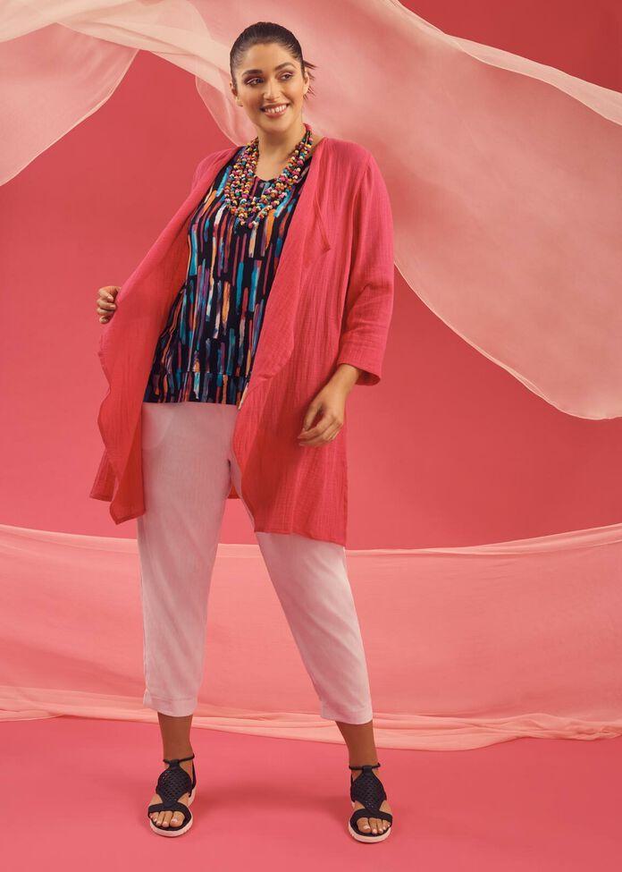 Linen Gauze Essence Cardigan, , hi-res