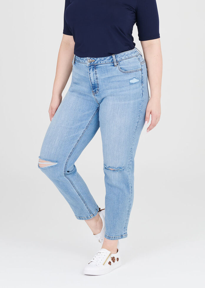 Coolmax Ripped Mom Jeans, , hi-res