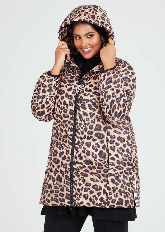 Leopard Puffer Jacket, , hi-res