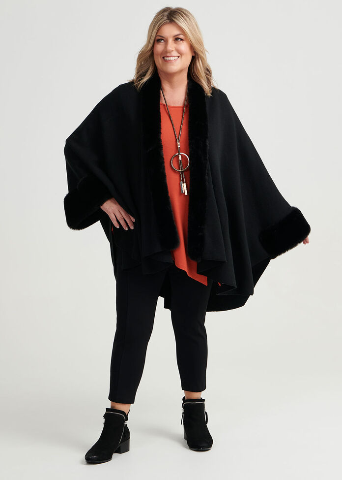 Faux Fur Trim Cape, , hi-res
