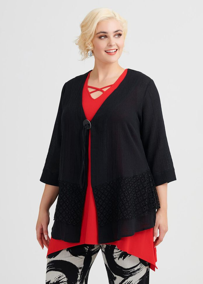 Linen Mix & Mingle Cardi, , hi-res
