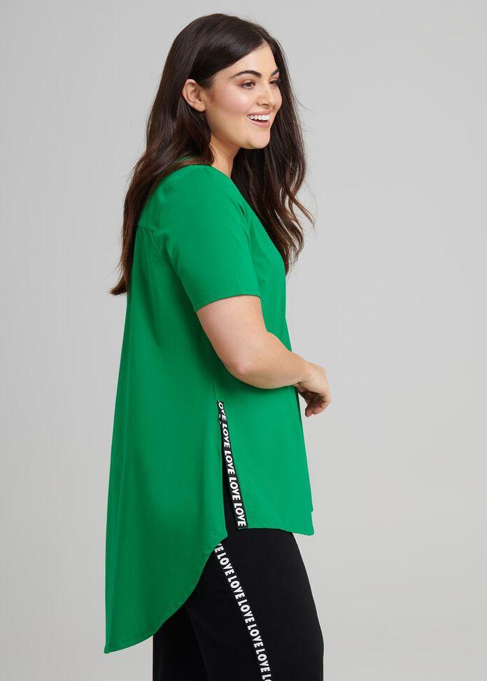 Jungle Green LOVE Off Shoulder Stretch Jersey Knit Top