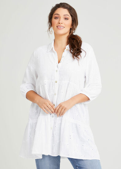 Cotton Embroidery Tiered Shirt