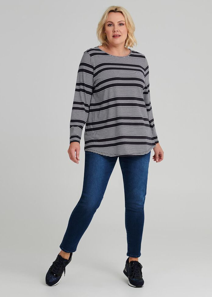 Easy Wear Ls Stripe Top, , hi-res