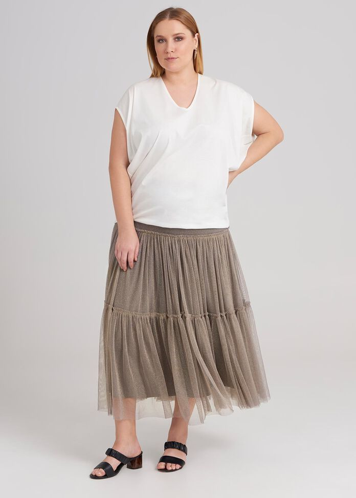 Gathered Tulle Skirt, , hi-res