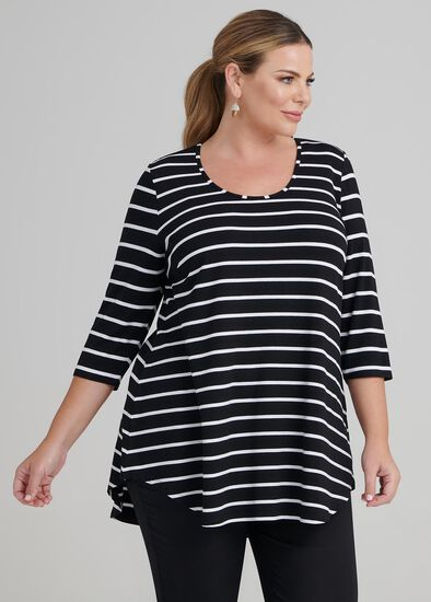 Bamboo Stripe 3/4 Slv Top