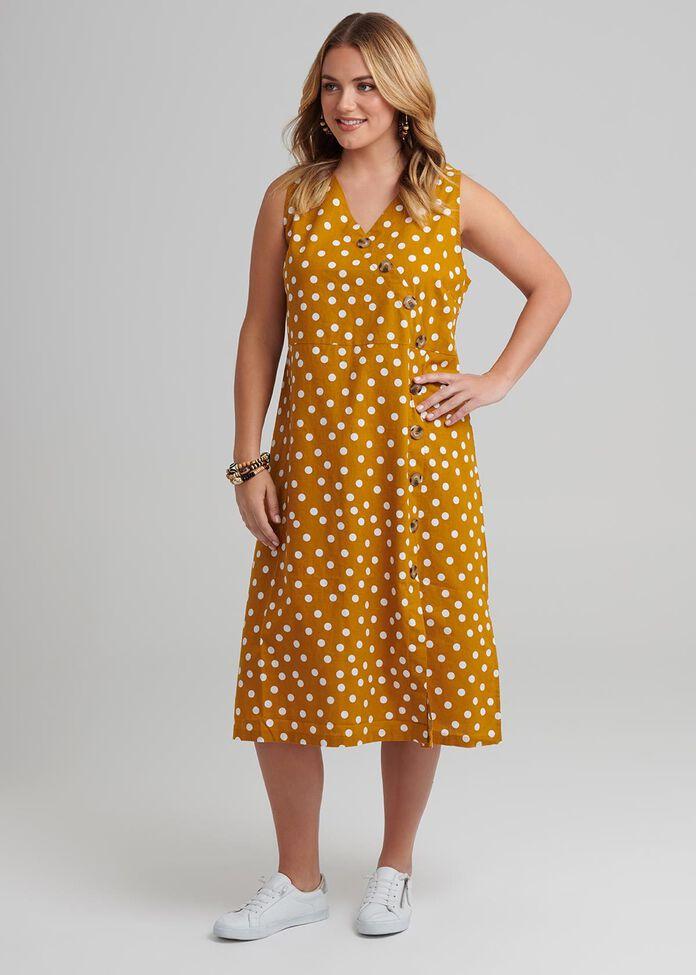 Mila Spot Linen Dress, , hi-res