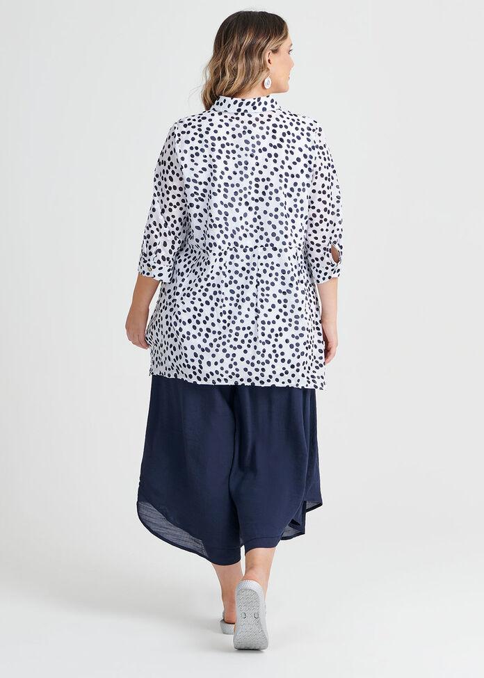 Cotton Navy Spot Shirt, , hi-res