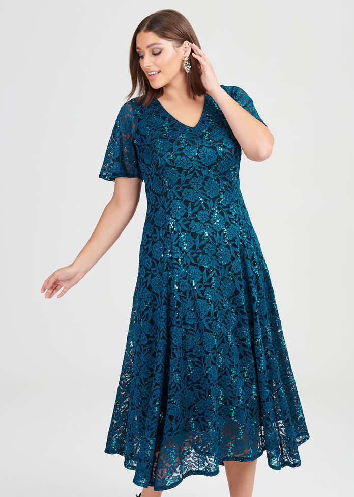 Sequin Lace Cocktail Dress, , hi-res