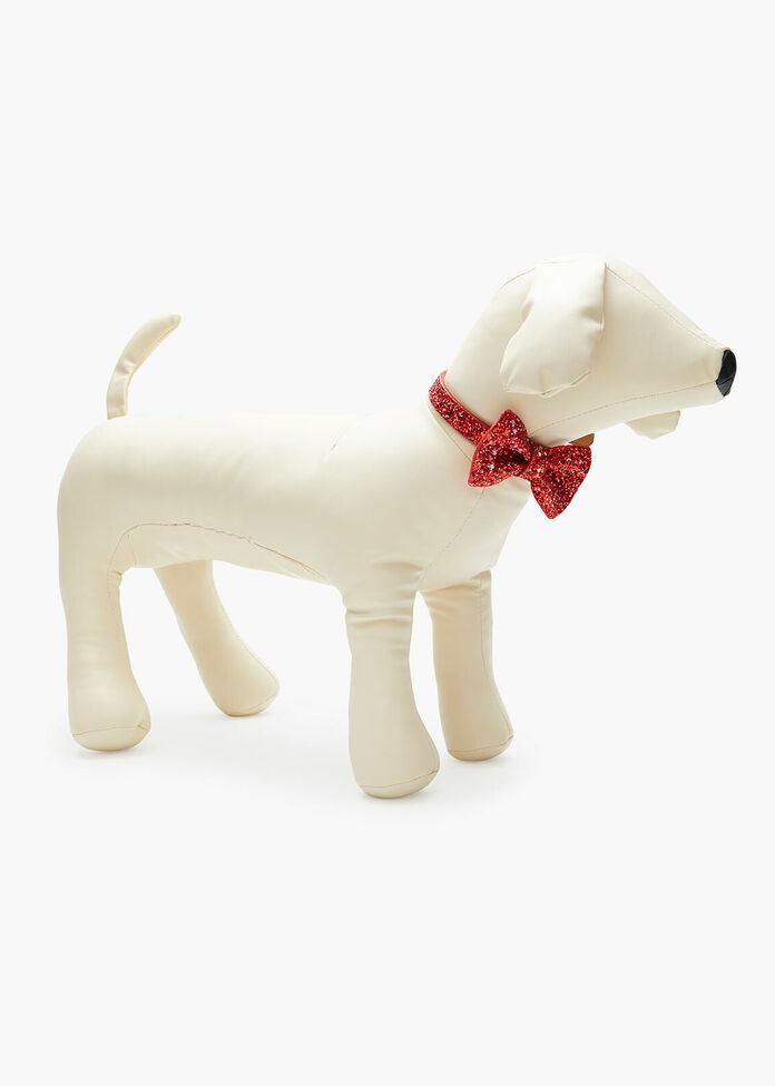 Red Glitter Bow Tie Pet Collar, , hi-res