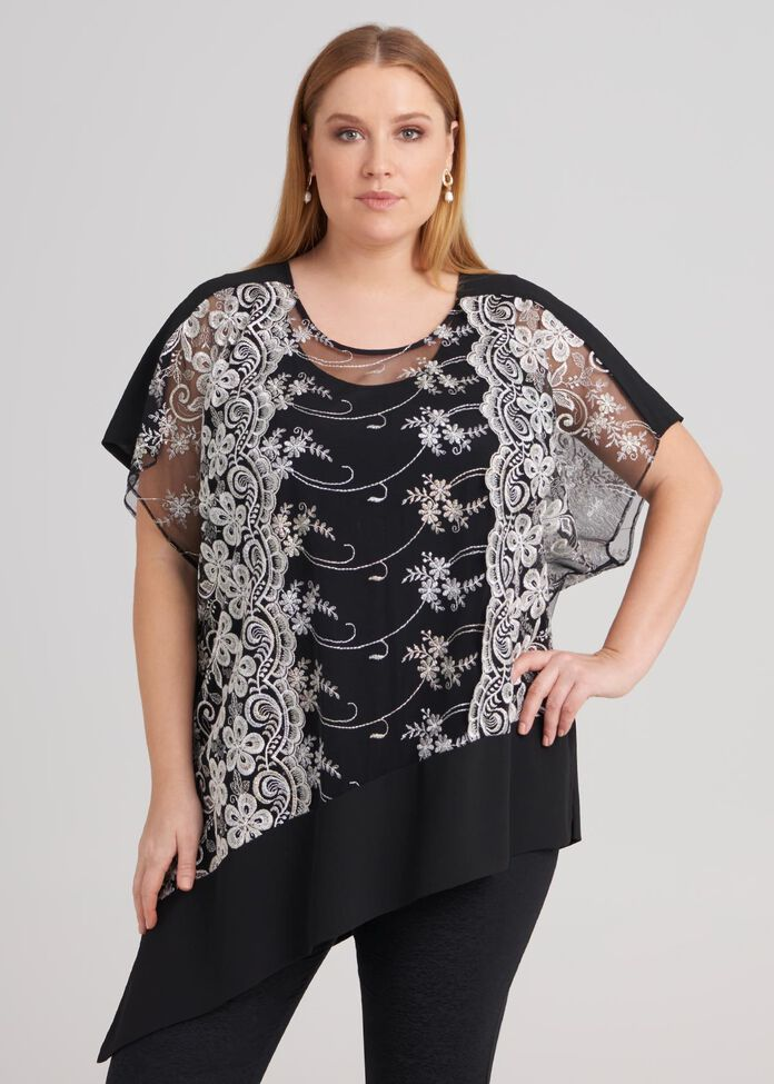 Short Sleeve Embroidery Top, , hi-res