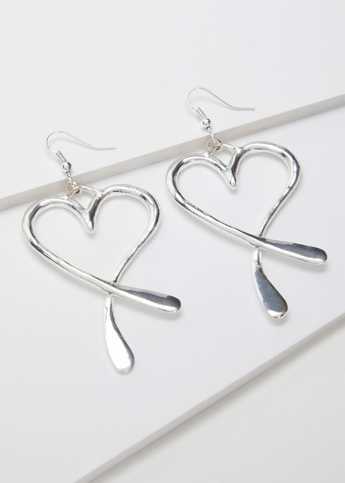 Silver Heart Earrings, , hi-res