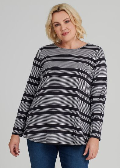 Easy Wear Ls Stripe Top