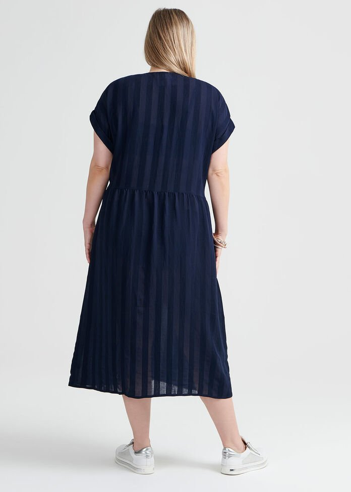 Stripe Button Dress, , hi-res