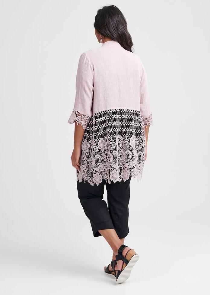 Gauze Linen & Lace Cardi, , hi-res