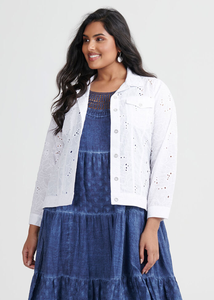 Cotton Broderie Jacket, , hi-res