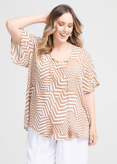 Natural Tribal Print Top