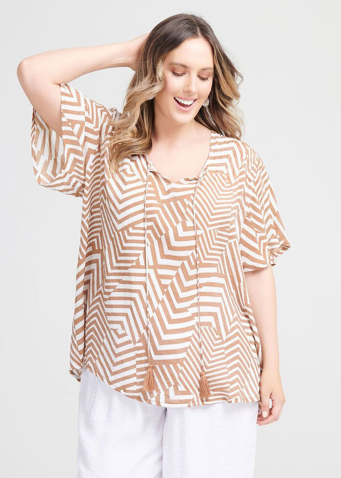Natural Tribal Print Top, , hi-res
