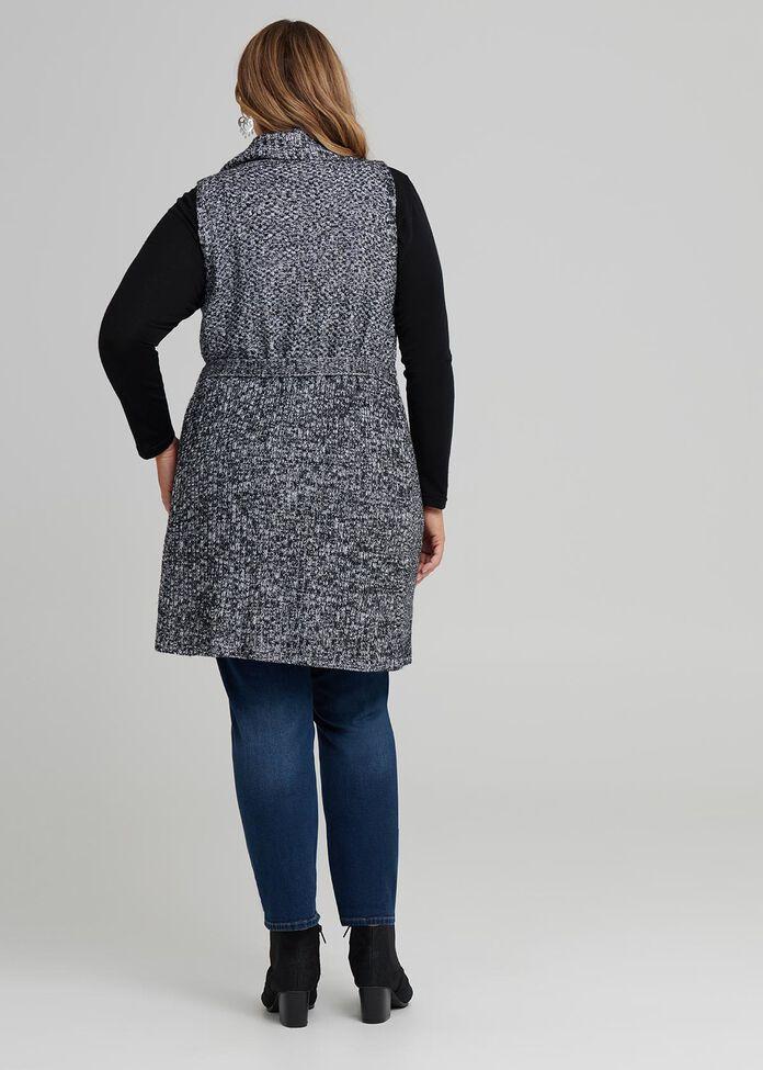 Textured Belted Vest, , hi-res