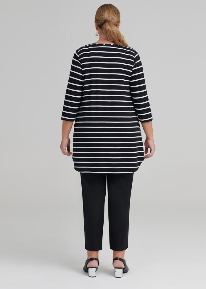 Bamboo Stripe 3/4 Sleeve Top, , hi-res