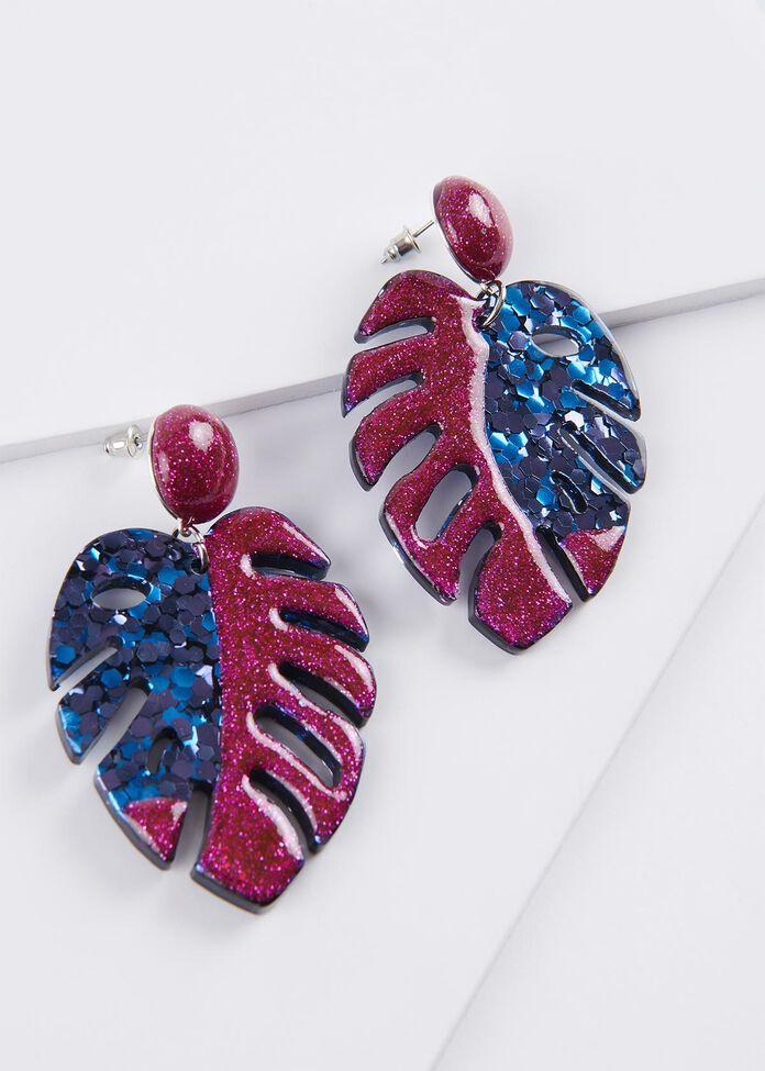 Glitter Fern Earrings, , hi-res