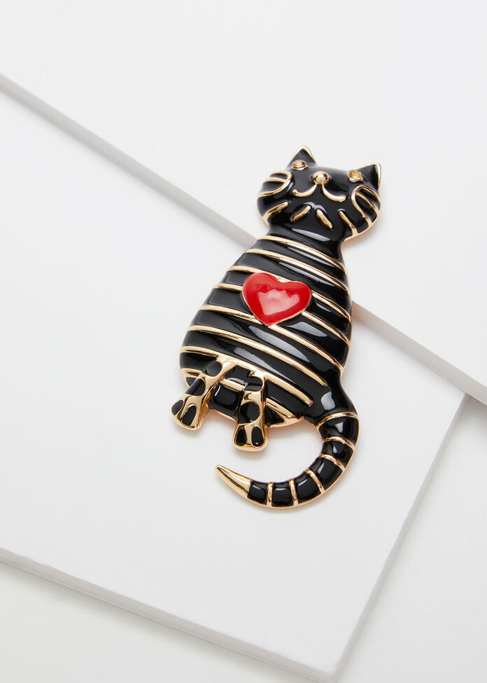 Striped Kitty Brooch, , hi-res