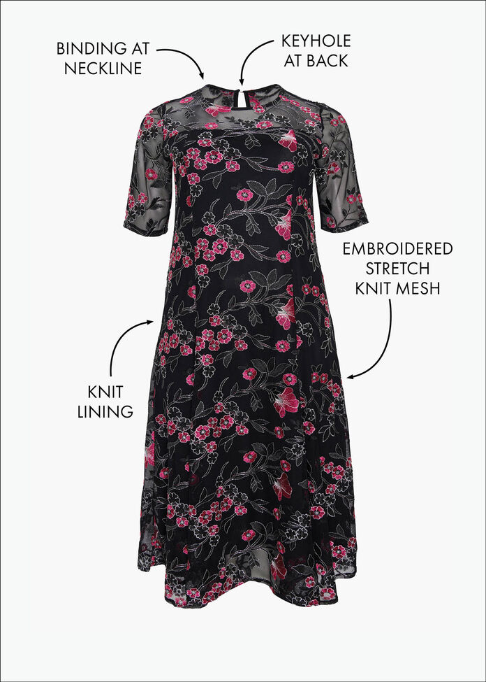 Embroidery Flower Dress, , hi-res