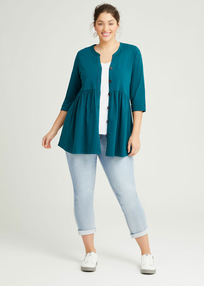 Organic Tiered Button Tunic, , hi-res
