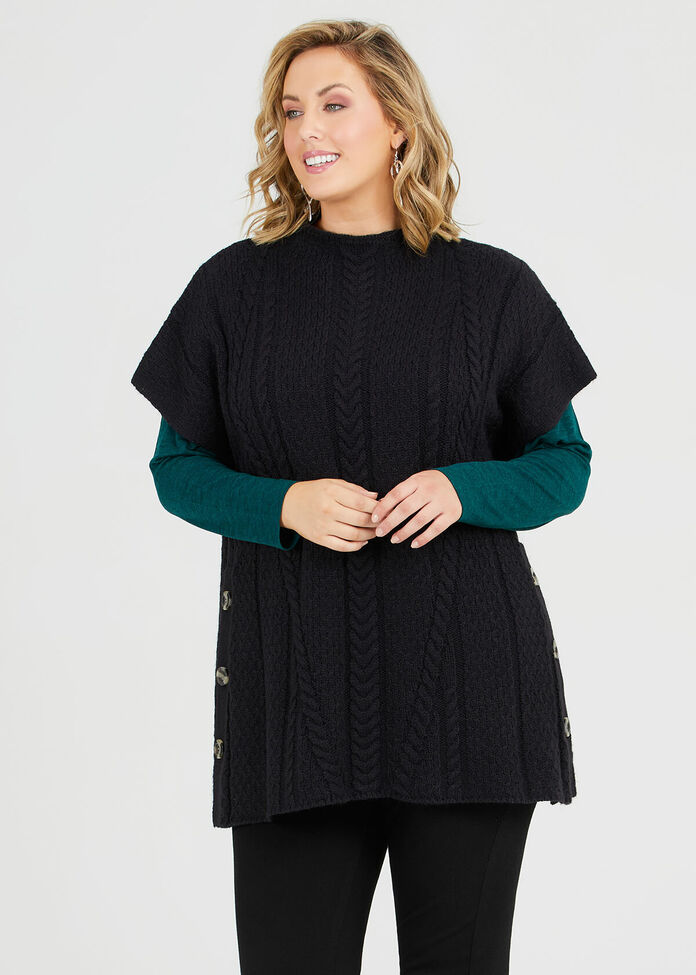 Cable Knit Button Tunic, , hi-res