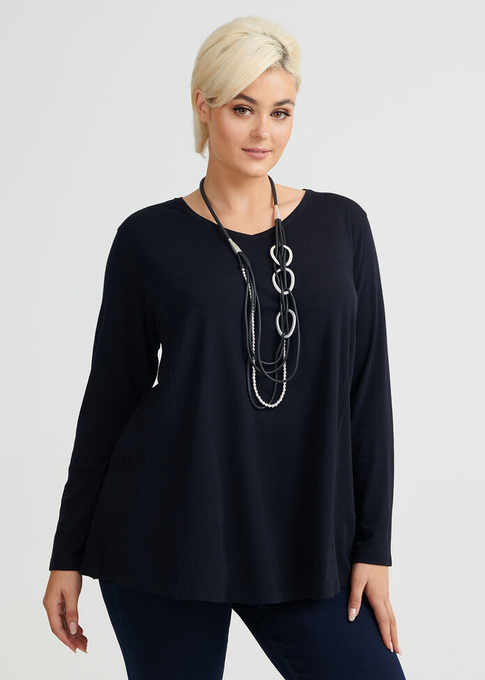 Wool Bamboo V Neck Top, , hi-res