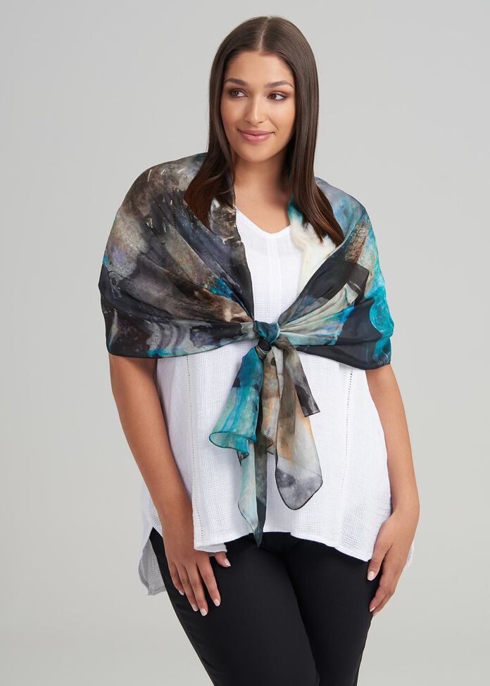 Water Wall Silk Scarf, , hi-res