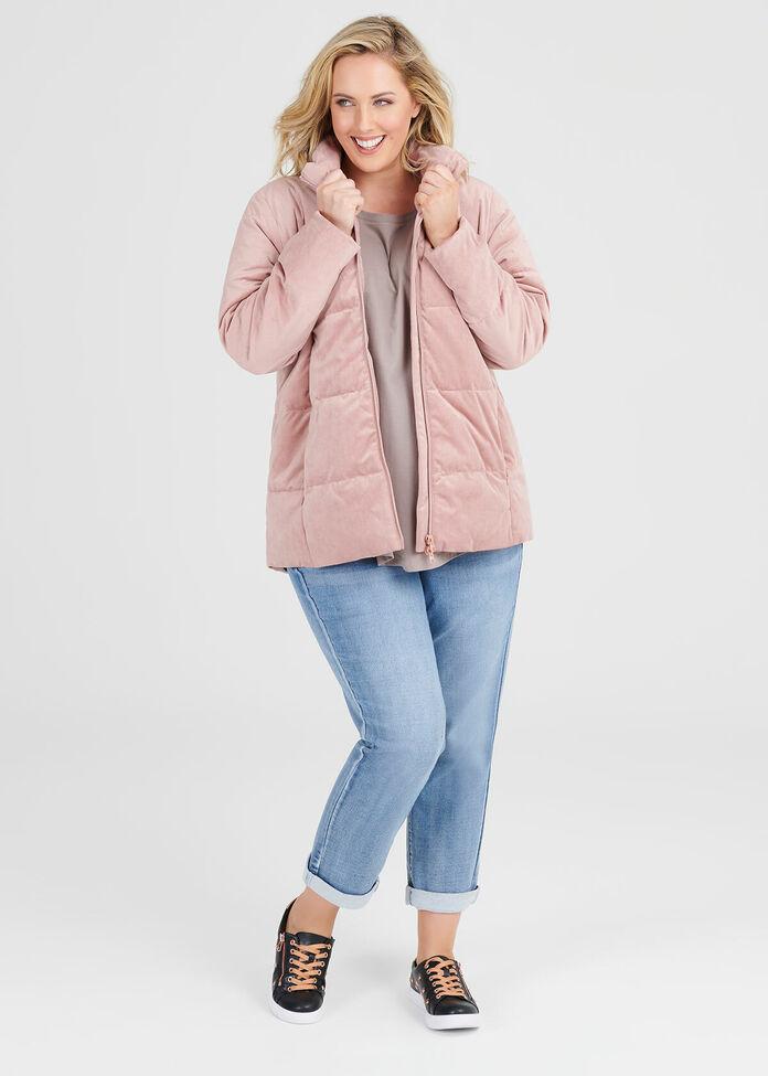Plush Velvet Puffer Jacket, , hi-res