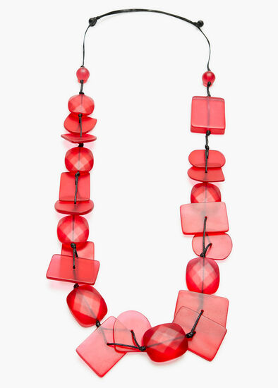 Pink Resin Bead Necklace