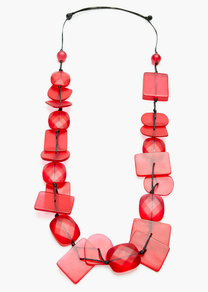 Pink Resin Bead Necklace, , hi-res
