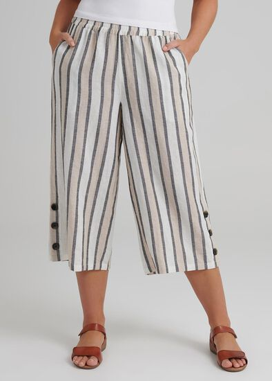 Stripe Linen Crop Pant
