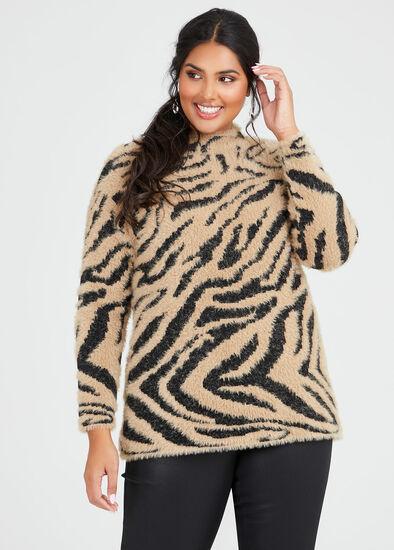 Fluffy Zebra Knit Jumper