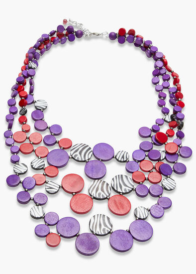 Bright Zebra Bead Necklace