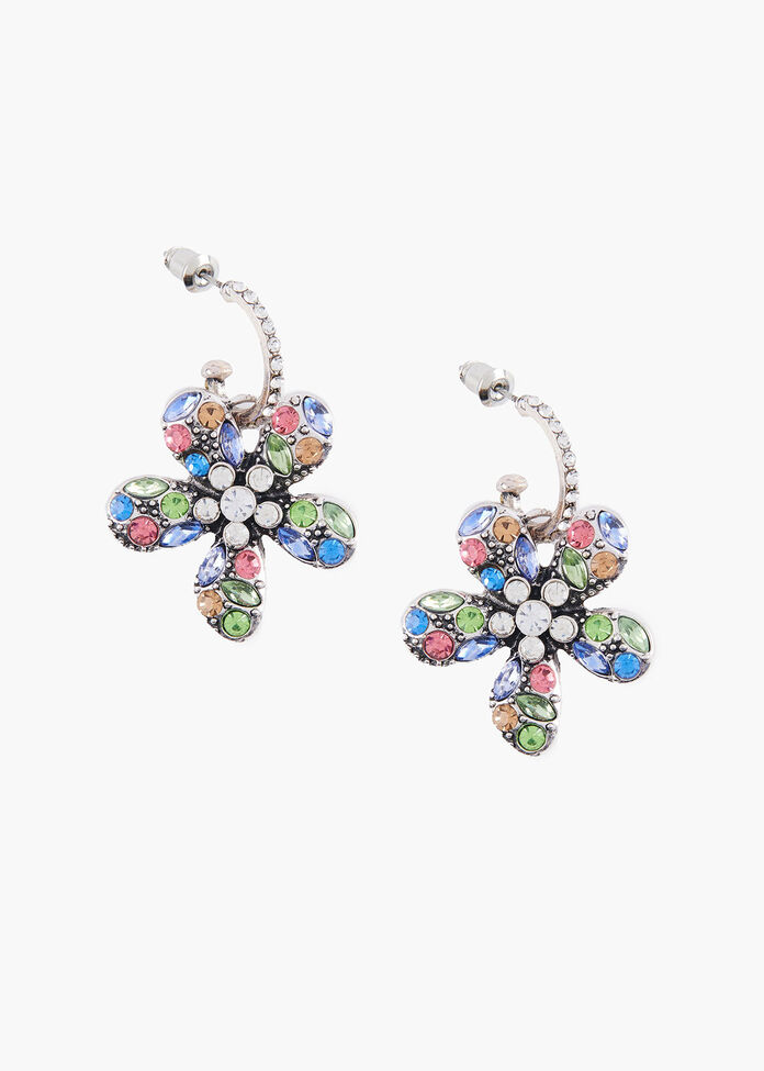 Crystal Flower Earrings, , hi-res