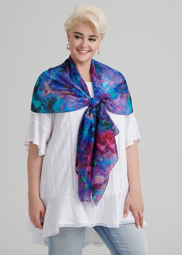 Electric Cosmos Silk Scarf, , hi-res