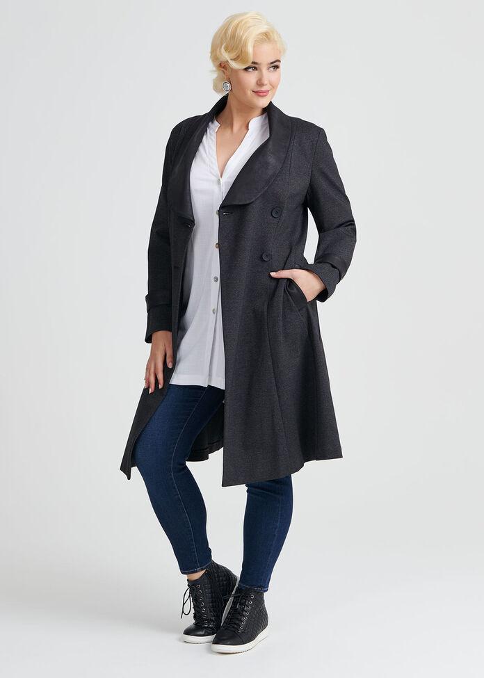 Herringbone Ponte Coat, , hi-res