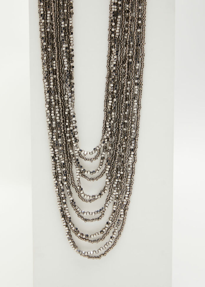 Layered Seed Bead Necklace, , hi-res