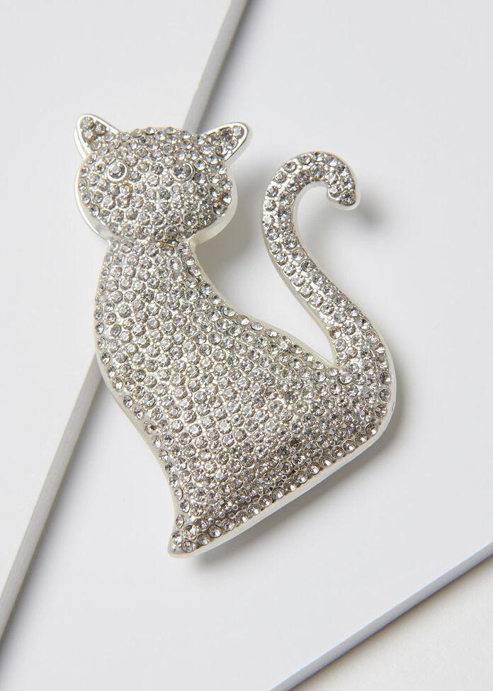 Crystal Kitten Brooch, , hi-res