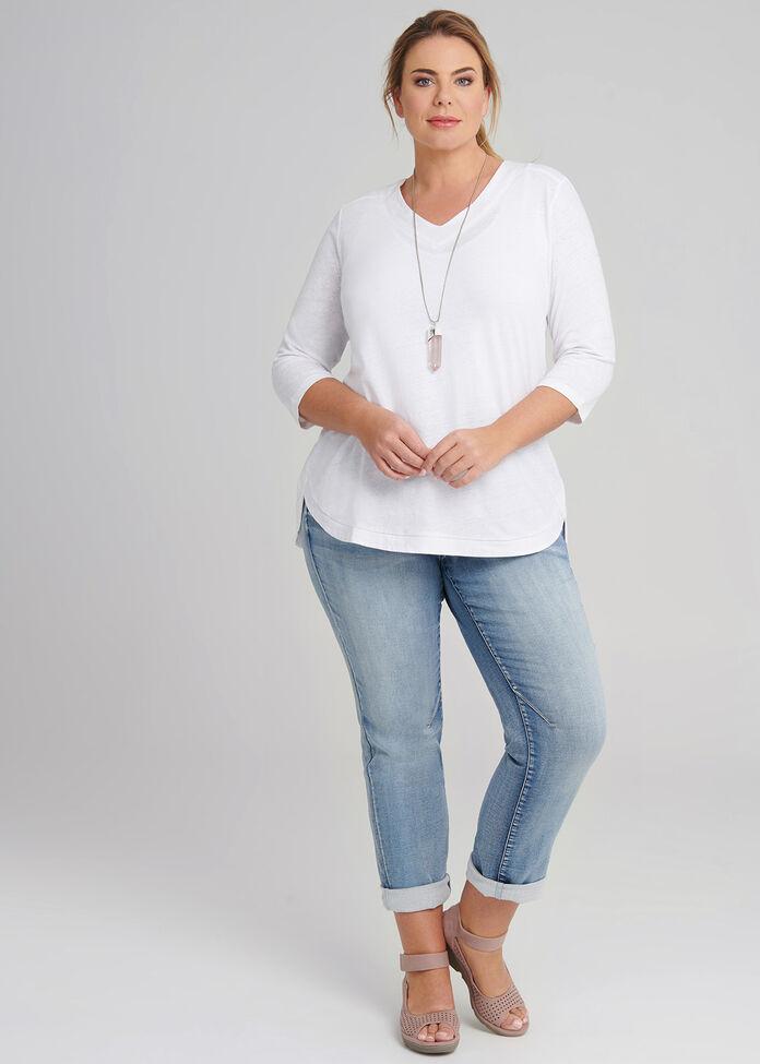 Soft Curves Linen Mix Top, , hi-res