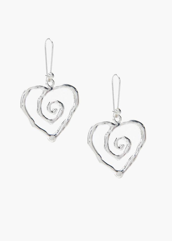 Spiral Heart Earrings, , hi-res