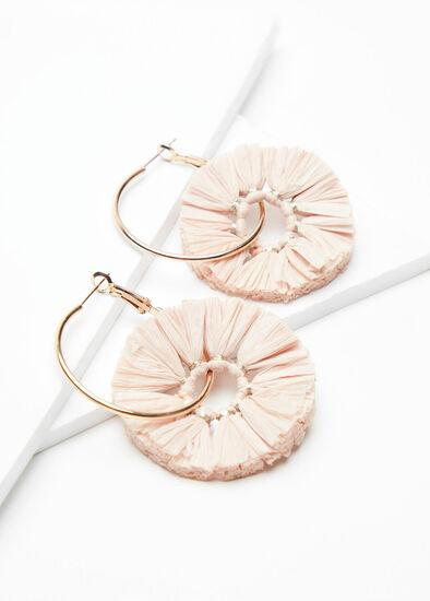 Blush Raffia Hoop Earrings