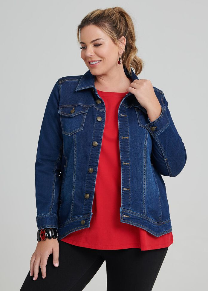 Angle Hem Denim Jacket, , hi-res