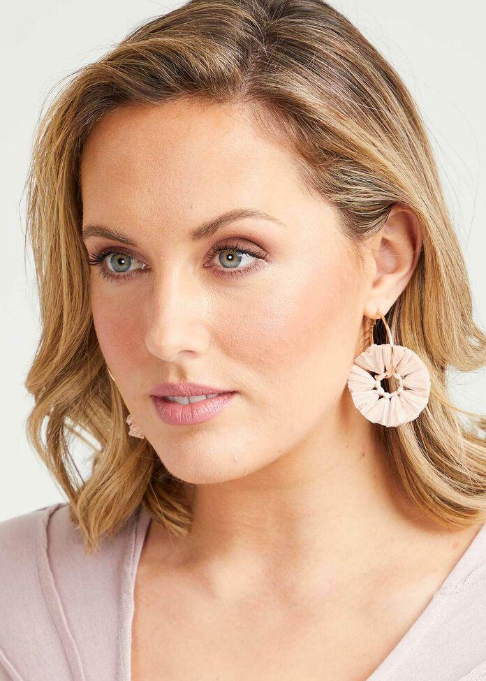 Blush Raffia Hoop Earrings, , hi-res