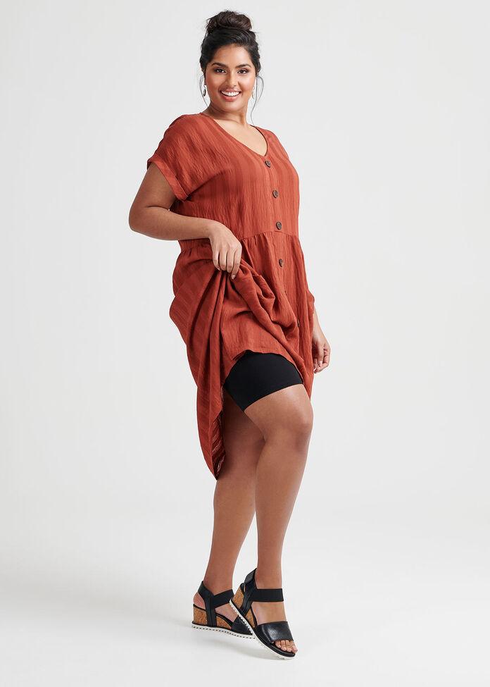 Stripe Button Dress, , hi-res